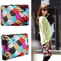 HANDMADE Women Korean Style Sparkling Multi-Color Stitching Sequins Bling Clutch Purse Evening Party Bag Handbag