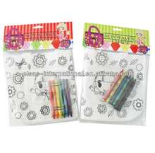kids DIY non woven painting bag with crayon
