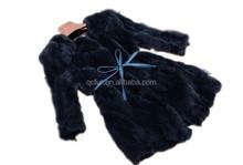 QC2163-3 4 black 2015 girl's overcoat rex rabbit fur hair belt jacket outfit for women winter coat