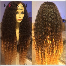 Top Fashion Ombre Colored Virgin European Human Hair Full Lace Wig Glueless Jewish Wig Kosher Wigs On Sale