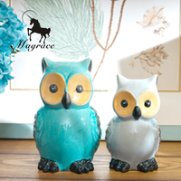 Resin craft owl Handmade Statue Sculpture craft, blue animal Art And Craft owl home decoration
