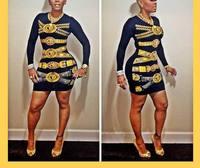 2015 New Design Celeb Bandage Women Dress Print Bodycon Outfit Party Dress Clubwear