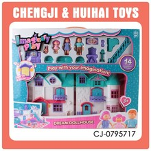 New mini plastic musical villa toy doll house play set with light