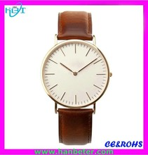 Alibaba China Factory price ultra thin case watch wood watch leather