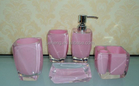 2015 fashion pink glass transparent bathroom accessory and kid bathroom set