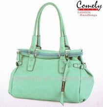 Comely handbag 2015 alibaba china light green PU woman brand women bags famous brand ladies handbag for usa leather shoulder bag