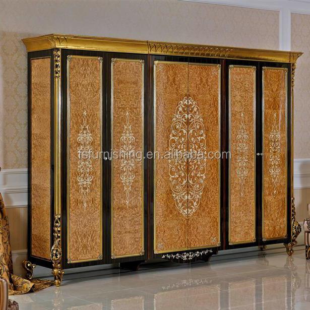 YB061 Luxury Royal Italian Mahogany 6 Door Big Wardrobe Cabinet/ European Classic Wood Closet