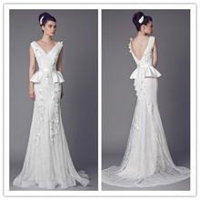 Latest Design New Fashion V-Neck Mermaid French Lace Appliqued Princess Bridal Wedding Dresses Patterns Plus Size 2015 (TWW07)