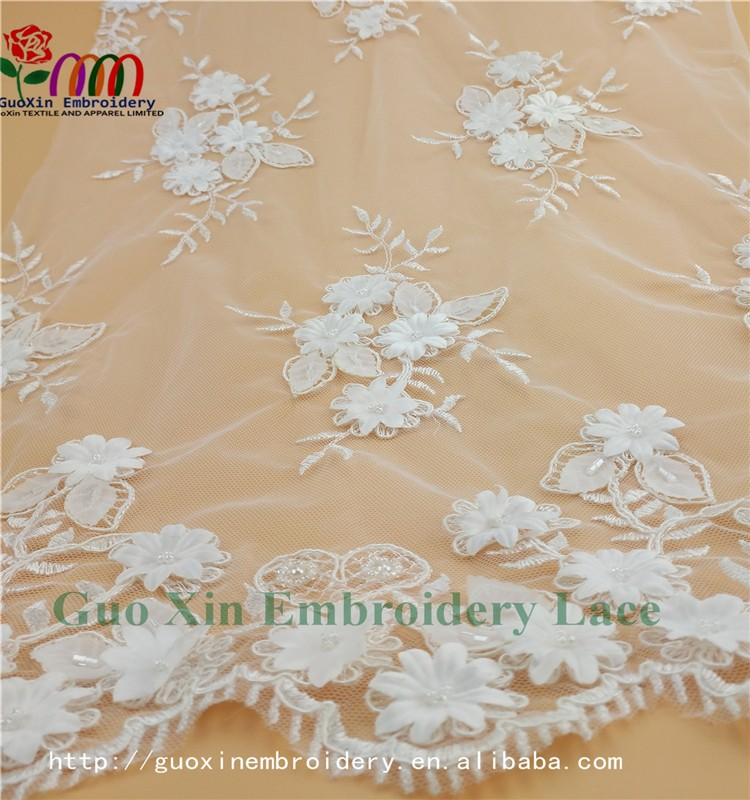 GUOXIN new arrival lace embroidery lace fabric for wedding dress A60915 (3)