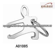 man shape metal bottle opener keychain
