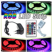 HOT 5m bande de RGB LED Strip transformateur 12V 3A alimentation 36W 44 touches