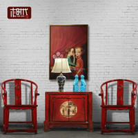 China Chinese Beijing factory whosale round chair elm solid wood old chair color high gloss rustic painted lacquer shinning