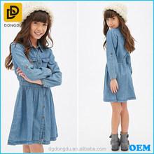 100% Cotton long sleeve basic collar denim girls' dress 2015