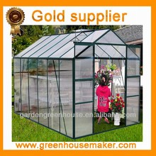 2015 hot sale easy grow aluminum hothouse, glass house, warm house, garden indoor, nursery, conservatory