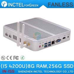 I5 4200u 4K fanless mini itx case with Intel Core i5 4200U 1.6Ghz CPU Haswell Architecture SOC design 8G RAM 256G SSD