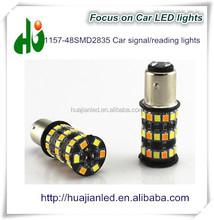 2015 newest design White/yellow 1156/1157 48SMD 2835 Car LED turn/brake lamp
