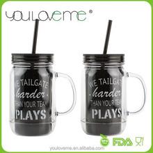 low MOQ promotional black plastic mason jar with handles, tumbler with straw