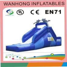 Outdoor water slide , animal combo slide , blue dolphin inflatable slide