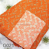 2015New fashion design orange leaf chemical lace fabric Duotone high quality evening dress fabricsG021