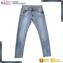 Factory price light blue washed finished low waist denim jeans for men
