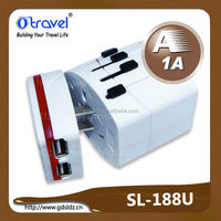 double usb travel plug adapter with double fuse