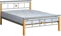 Modern wood post metal double bed for home furniture
