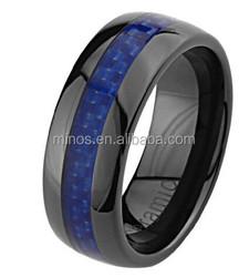 Mens Ceramic Wedding Band with Blue Carbon Fiber Inlay