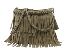 Vintage style ladies tassels bag with shoulder strap