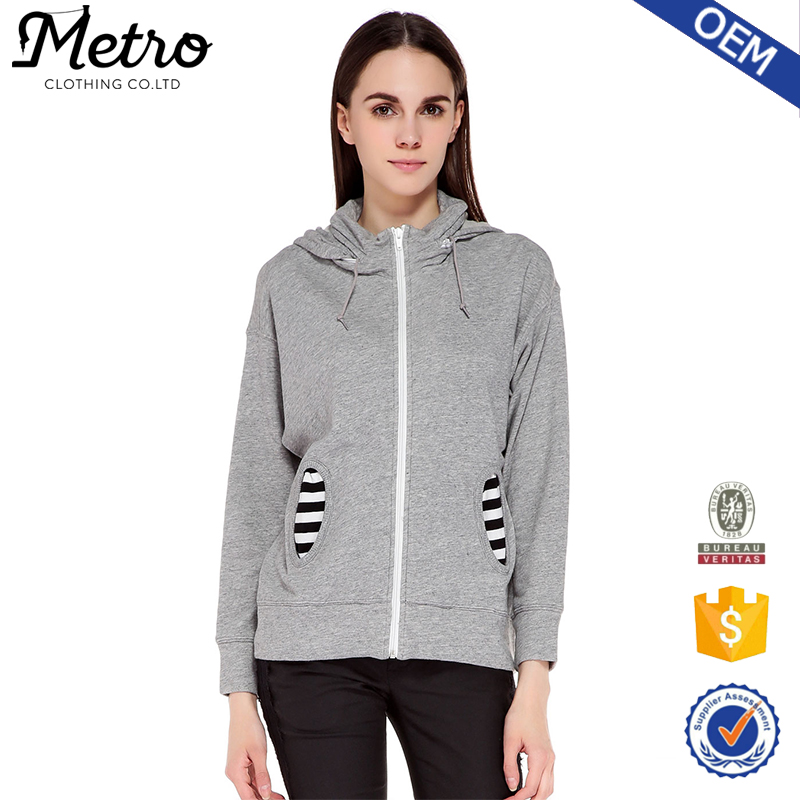 Women cotton and polyester blend gray fleece hoodie for Cotton polyester flannel shirts