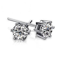 Unisex Simple Rhinestone Platinum Plated Silver Stud Earring
