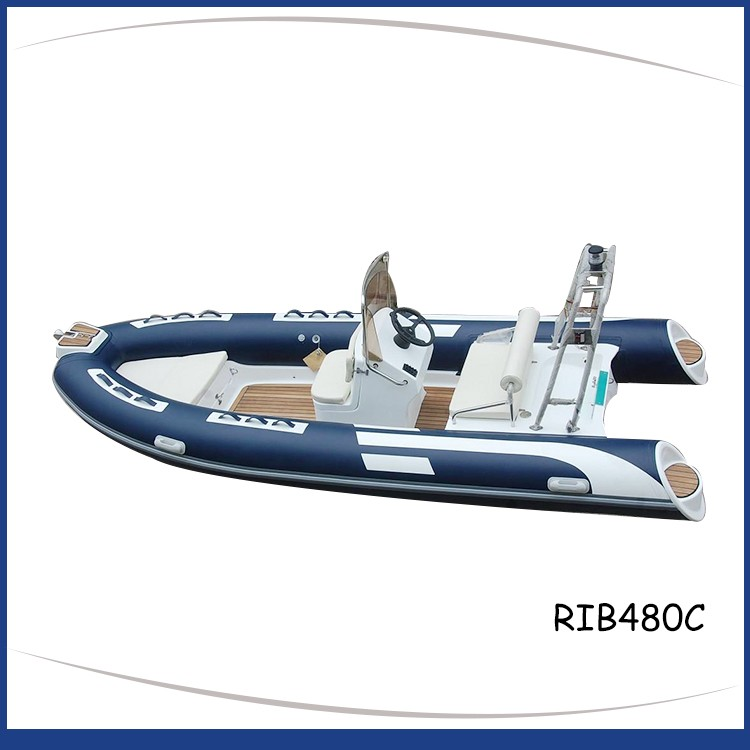 Blue_ rigid_inflatable_boat_fiberglass_step_SS_roll_bar_teak-floor_RIB480C-1