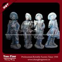Lovely boy and girl copper statue