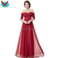 off-shoulder short sleeve red bridal wedding dress elegant evening dresses from dubai