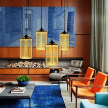 Nordic style colourful glass cylindrical chandeliers with edison bulb