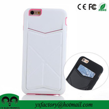 wholesalers proveedor china white pu tpu with kickstand cheap cell phone sticker card holder for iphone 6, for iphone 6 plus