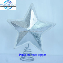 Vintage silver paper lucky Christmas star ornament tree topper W/ artificial snow on the edges wholesale