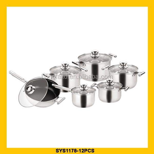 Комплект посуды 12 шт. стеклянная крышка с черным покрытием