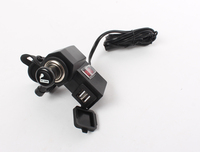 12V Motorcycle Waterproof Cigarette Lighter Power Port + Dual USB Charger