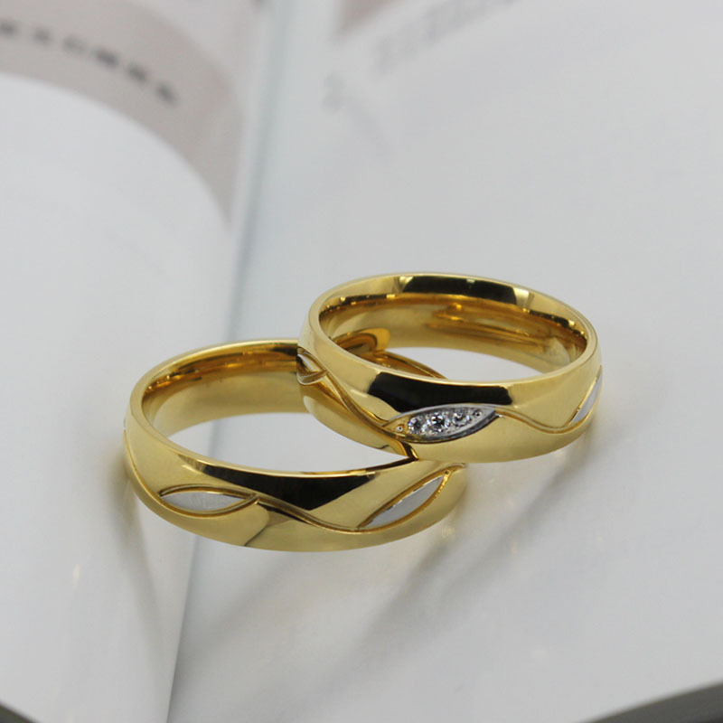 New Korean Edition 18K Gold Fashion Couple Lovers Engagement
