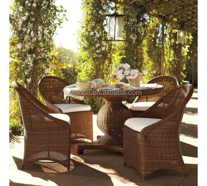 Glass Top Round Table And Chairs Rattan Outdoor Home Garden French ...