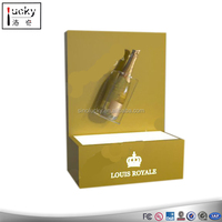 Gold counter acrylic bottle display with LOGO lighted