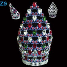 Fashion colored crystal large pageant crowns, jewelry tiara wedding, customized crowns large india wedding tiaras