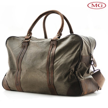 Vintage military canvas bag luggage travel duffle bag with genuine leather trim