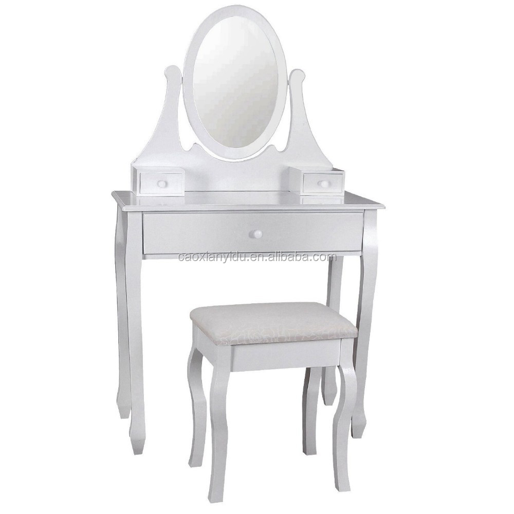 Mirror Table Stool Makeup Teen Girl Dresser Bedroom Furniture Vanity Padded S