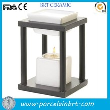 Ceramic white oil basin and candle holder oil burner/warmer with wooden holder