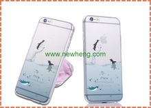 New Interesting Marine Animals Dolphins Soft TPU Transparent Case For iPhone 6