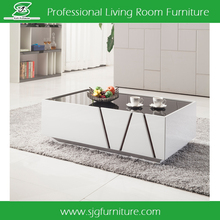 Latest Design Wooden Tea Table with Glass Top and Drawers CT-1603