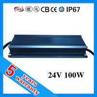 5 years warranty 24V 100W 24VDC waterproof LED power supply , electronic LED driver , LED transformer