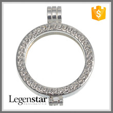 Legenstar Fashion Cheap Handmade Accessries White Crystal Alloy Coin Holder Pendant Coin Bezels Wholesale