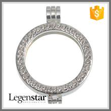 Legenstar Fashion Cheap Handmade Accessries White Crystal Alloy Coin Holder Pendant Coin Bezels Wholesale
